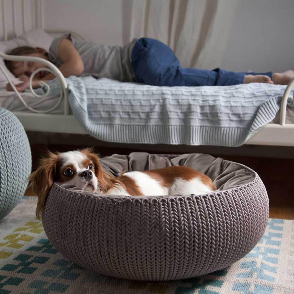 Curver łóżko Dla Psa I Kota Knit Beżowe